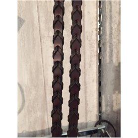 Rênes tressées en cuir brun