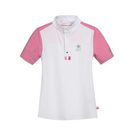 Polo concours fille ERIN blanc et rose