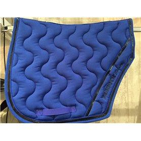 Tapis coupé Paddock sports bleu roi avec galon bleu roi, vernis noir et passepoil bleu roi