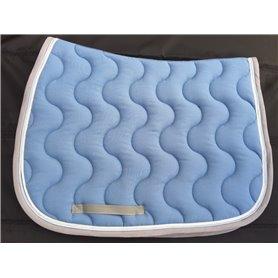 Tapis bleu lagon galon gris puis passepoil bleu ciel et tresse grise