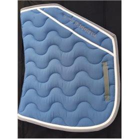 Tapis coupe bleu lagon galon gris et verni blanc