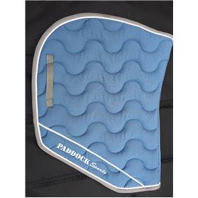 Tapis coupe bleu lagon galon gris et passepoil blanc